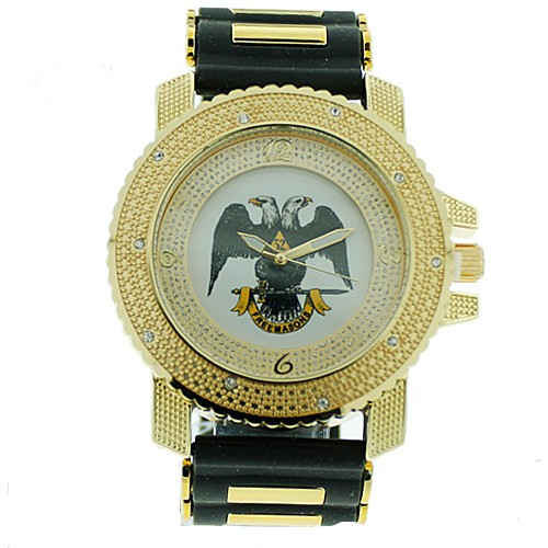 Scottish Rite Masonic Watch - Black Silicone Band...