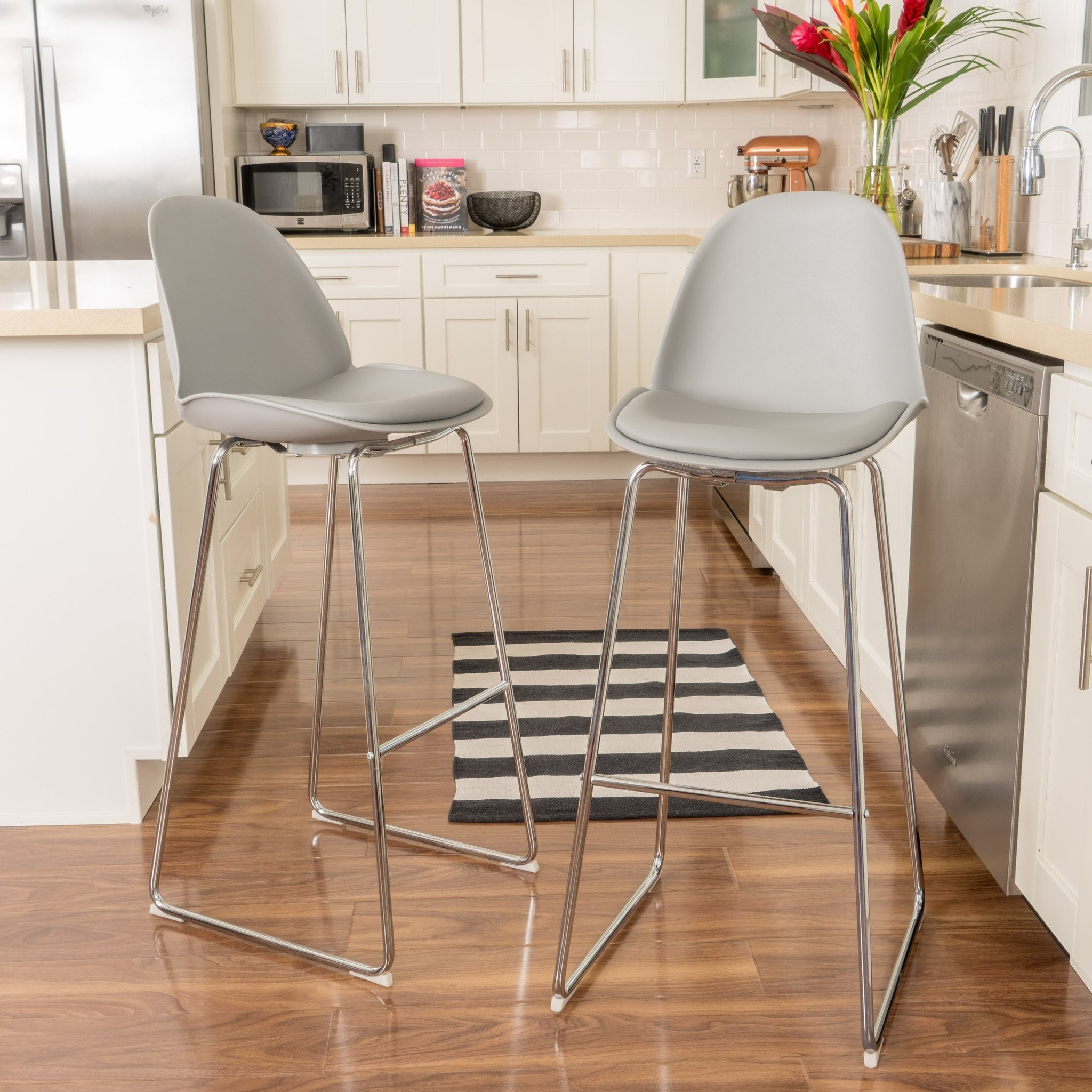Torney Contemporary Grey Bar Chair (Set of 2)