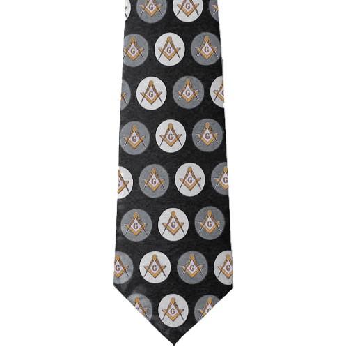 Freemason's Tie - Black and Gray Polyester lon...