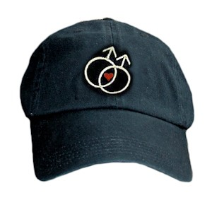 Black Baseball Cap with Double Mars Gay Male Symbo...