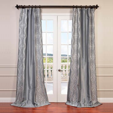 Chai Silver Embroidered Faux Silk Taffeta Curtain