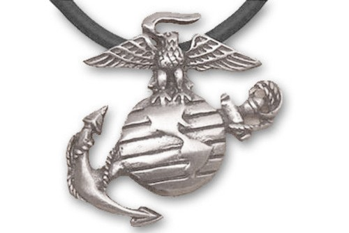 Marines - USMC Military Pewter Necklace with Black...