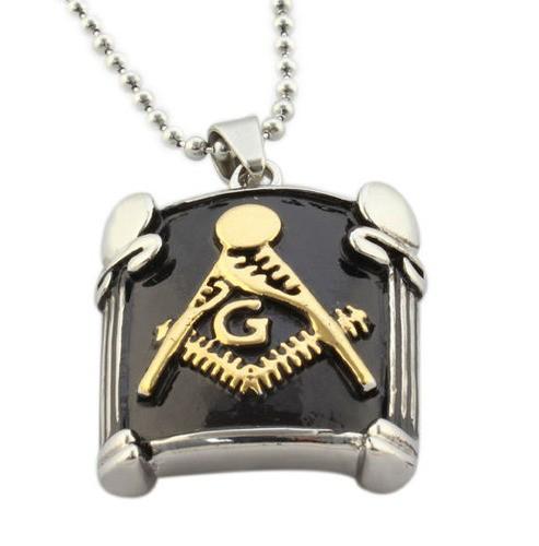 Freemason Pendant / Masonic Necklace - Black and G...