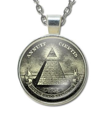 Masonic Glass Necklace Pendant with Masonic Symbol...