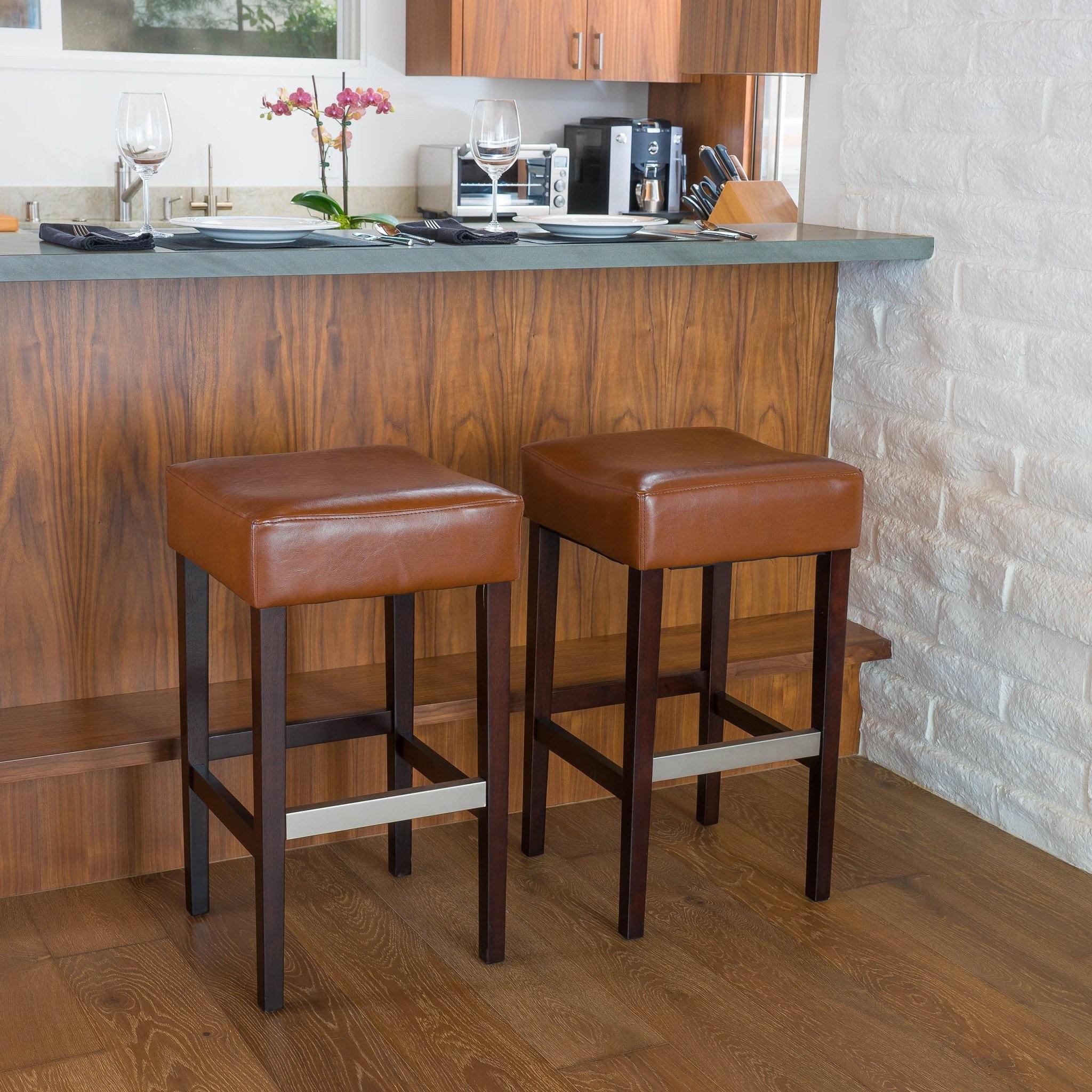 Barto Hazelnut Leather Backless Bar Stools (Set of...