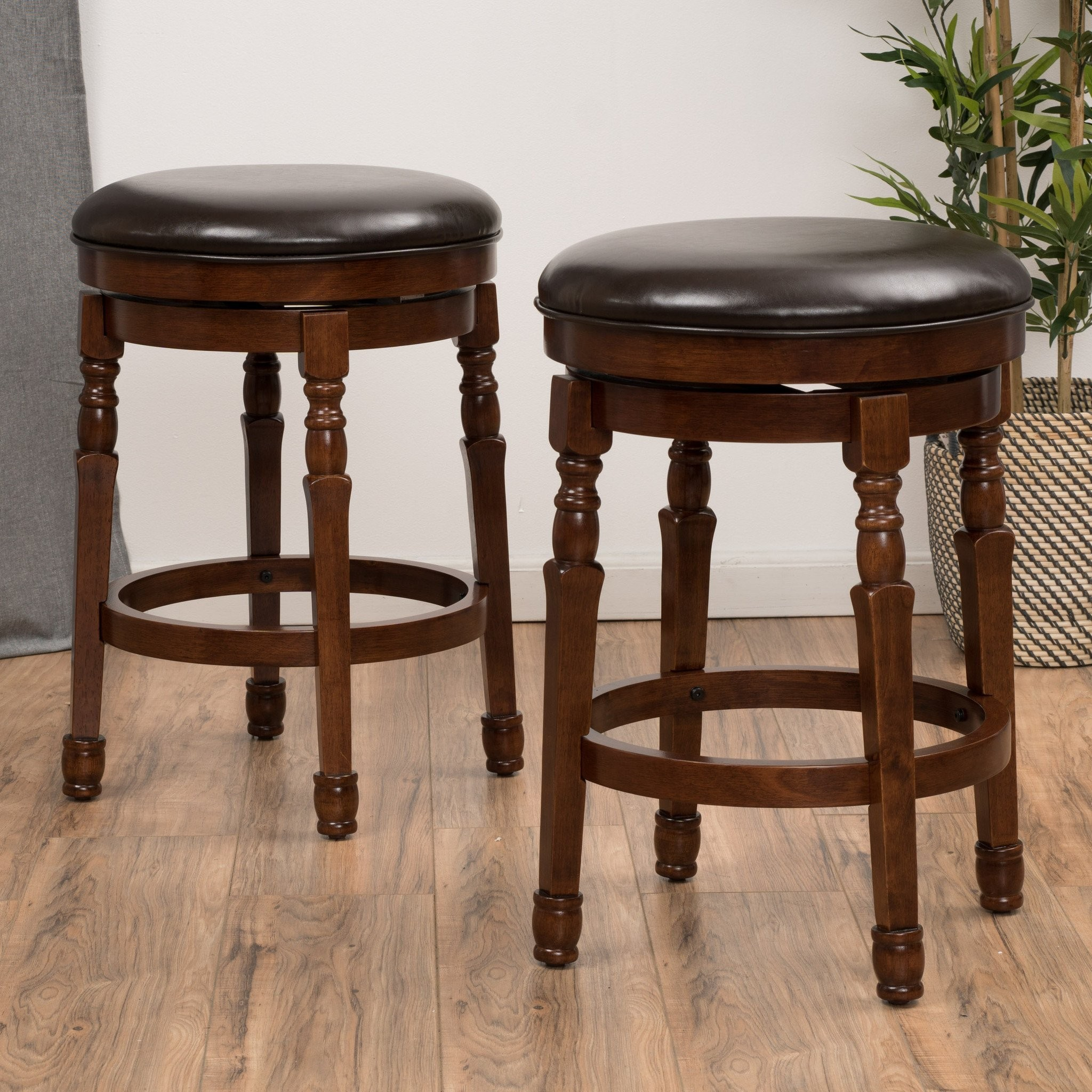 Jaxx Brown Leather Swivel Counter Stool (Set of 2)