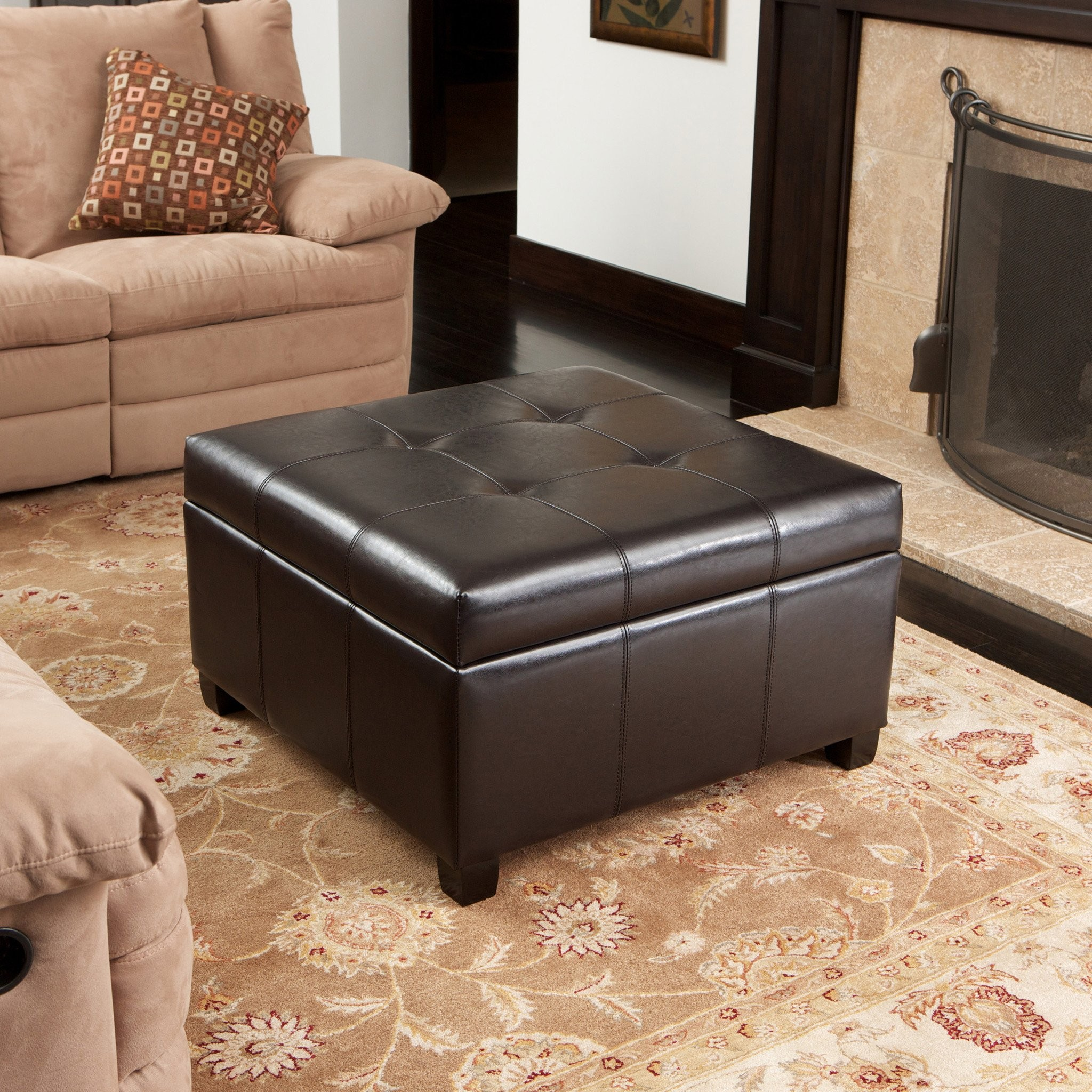 Boston Espresso Brown Tufted Leather Storage Ottom...