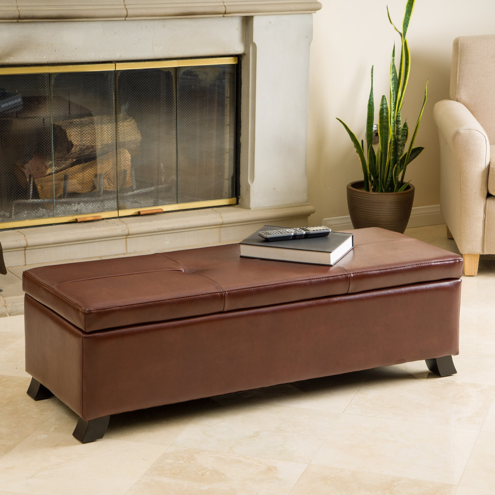 Canal Saddle Brown Storage Ottoman Bench