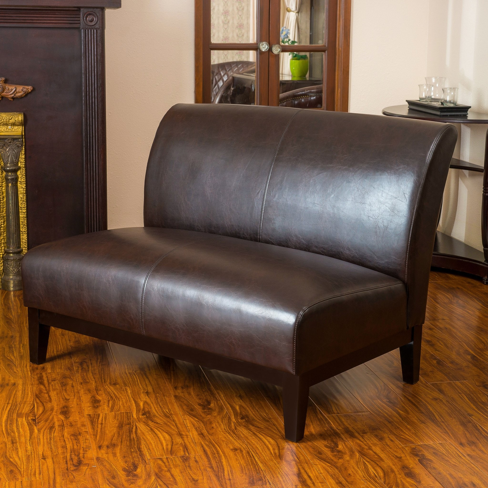 Massimo Brown Leather Loveseat