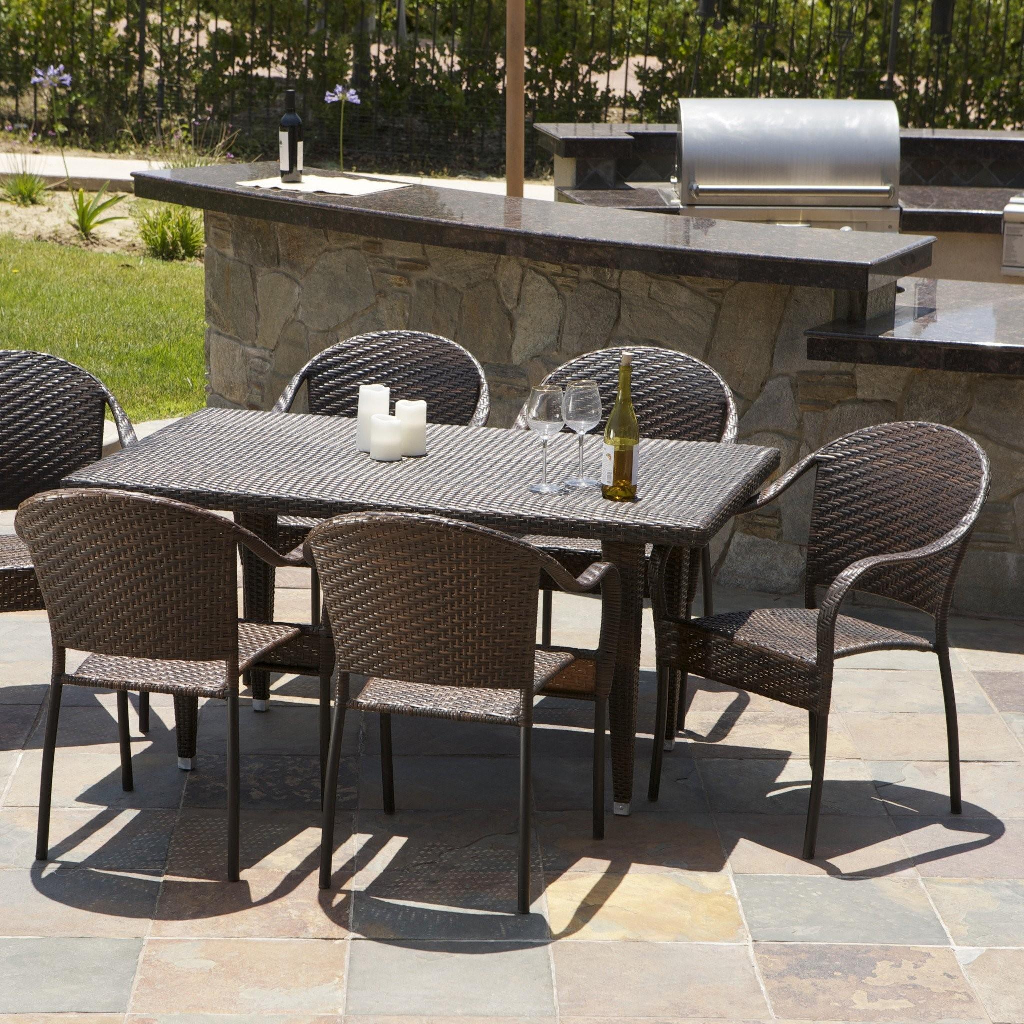 Livingston 7 Piece Wicker Outdoor Dining Set