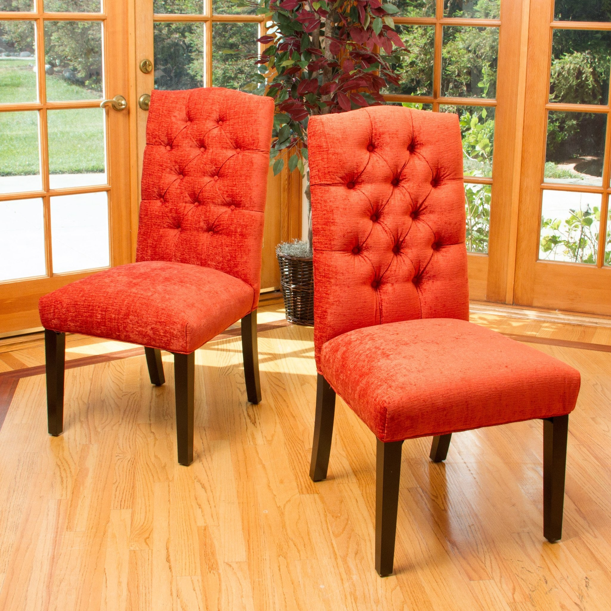 Clark Burnt Red Fabric Dining Chair (Set of 2)