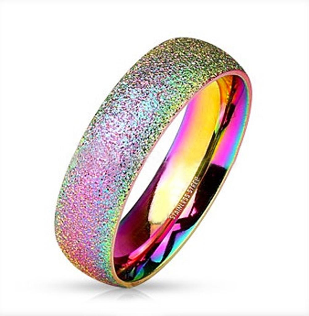 Rainbow Anodized Glitter Ring - Gay & Lesbian...