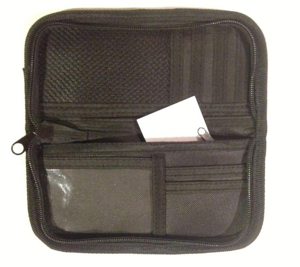 Black Canvas Clutch Wallet with Rainbow Stripe - L...