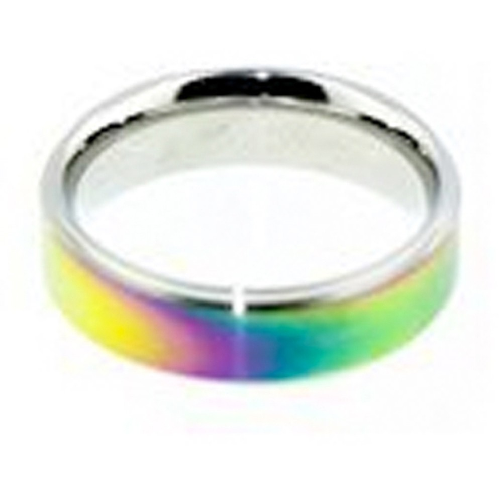 Smooth Flat Anodized Rainbow Ring - Gay and Lesbia...
