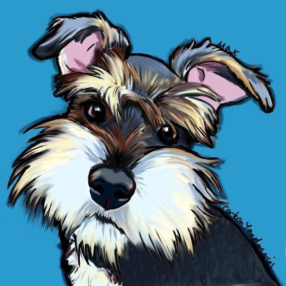 Schnauzer puppy art print by cartoonyourmemories o...