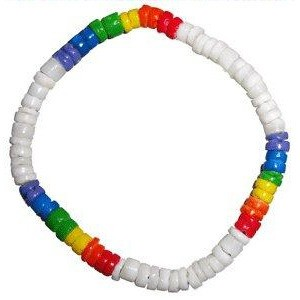 White & Rainbow Pride Bead Puka Shell Hand OR...