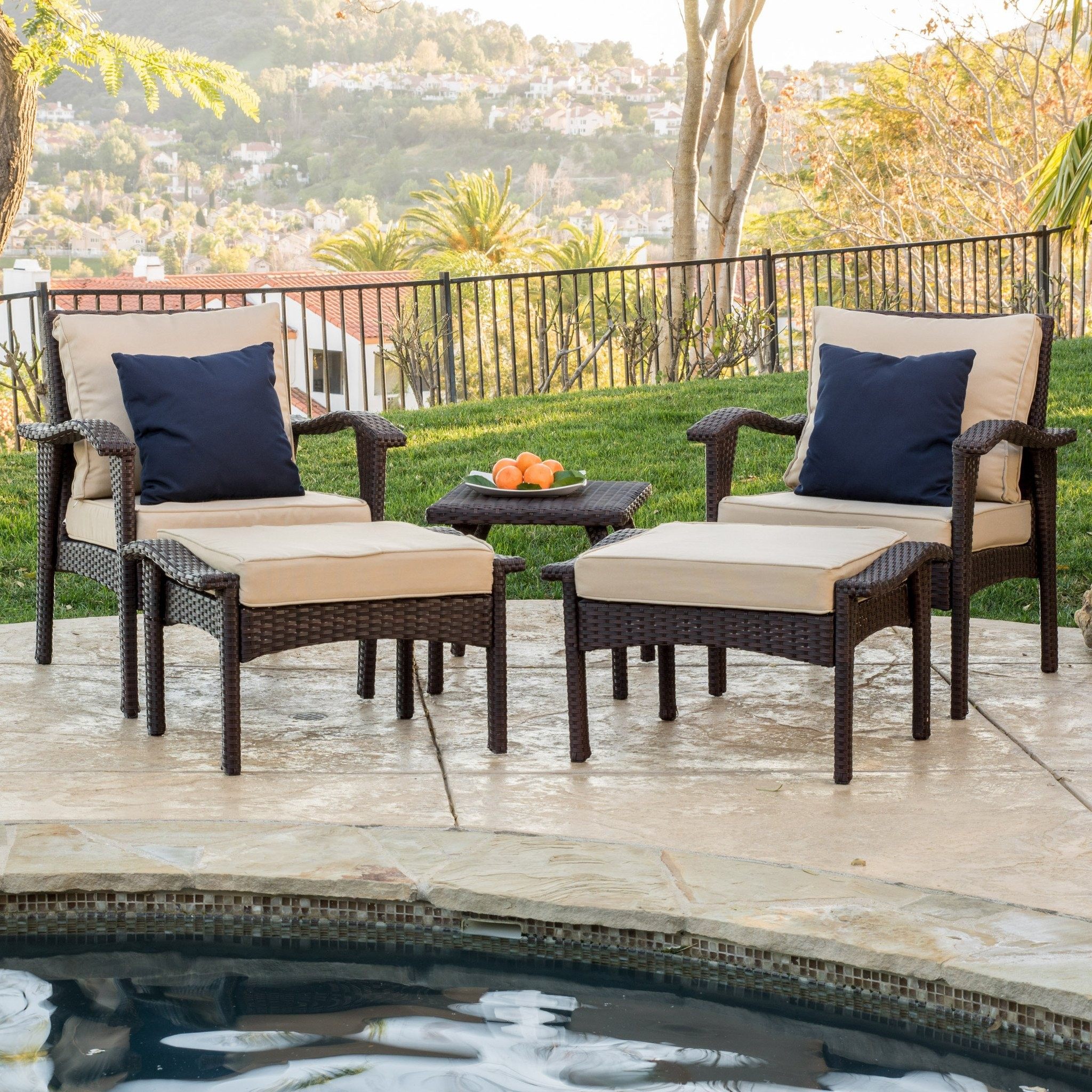 Maui Outdoor 5-piece Brown Wicker Seating Set with...