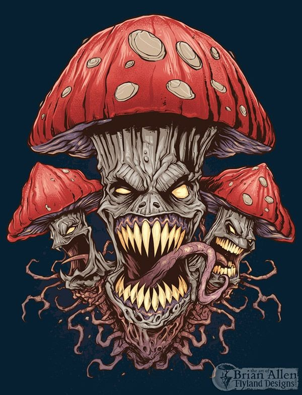 Evil Mushroom and Pot Leaf T-Shirt Illustrations o...