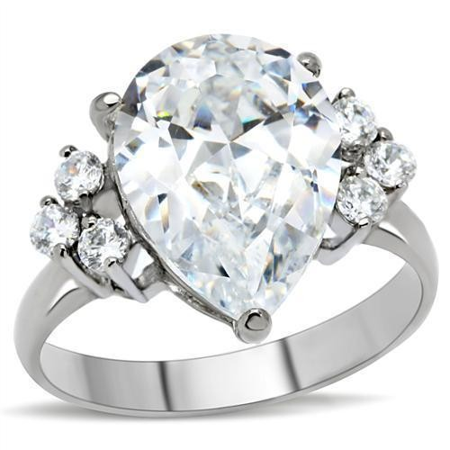 Womens Big Rock (7 Stones) CZ Ring - Steel Engagem...