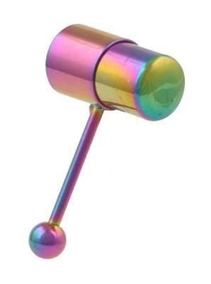 Rainbow Anodized Vibrating Tongue Ring - Gay &...