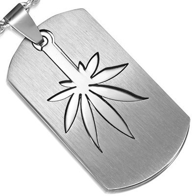Marijuana Symbol - 2pc Stainless Steel Sectional D...