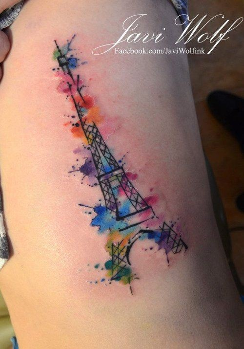 6ae1c5576 Watercolor Eiffel Tower tattoo by Javi Wolf.. | Posted by lora on ...