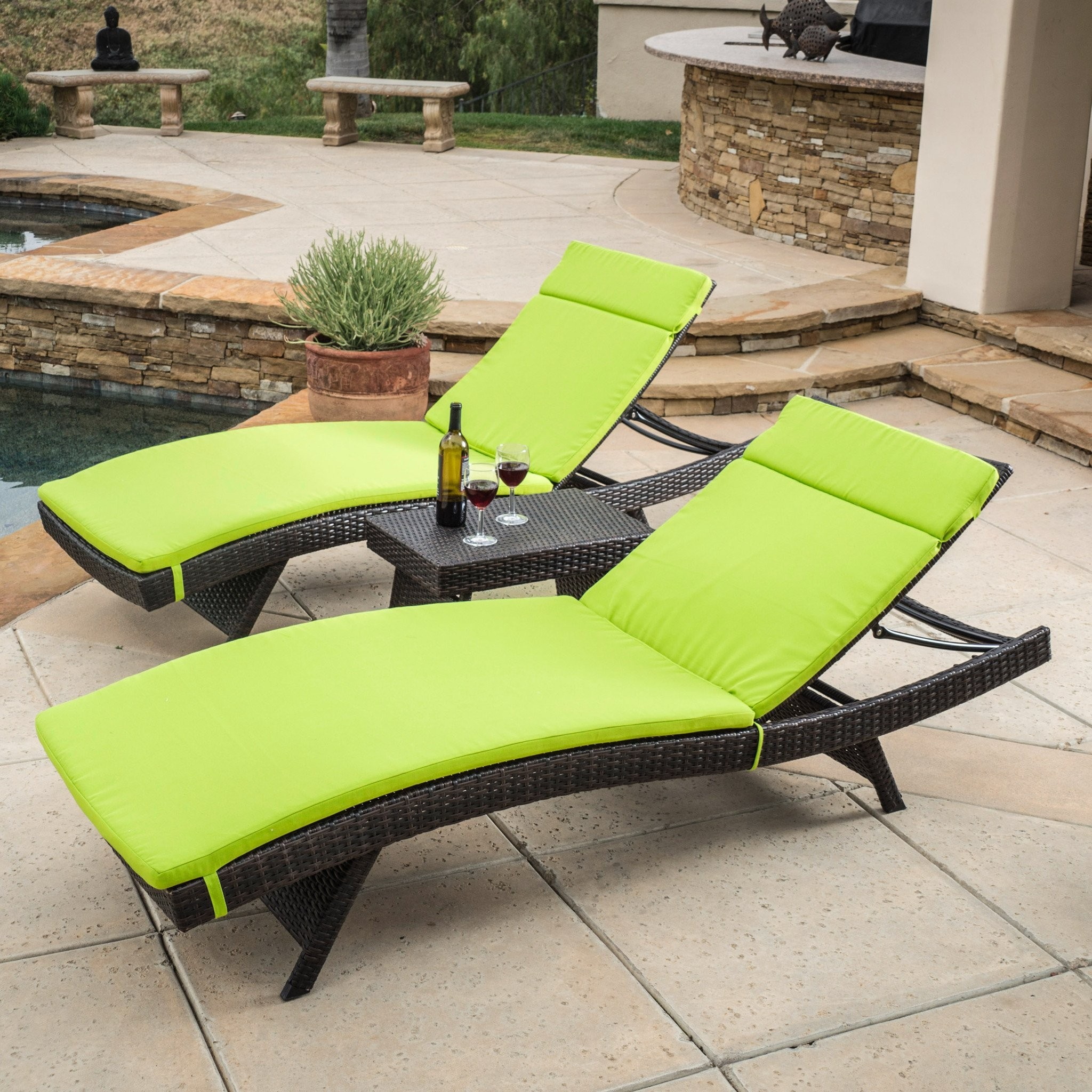 Lakeport Outdoor 3pc Adjustable Green Chaise Loung...