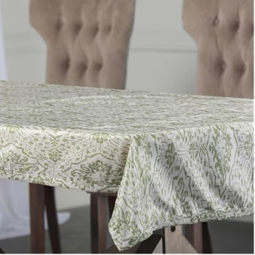 Tabriz Green Designer Faux Silk Taffeta Table Clot...