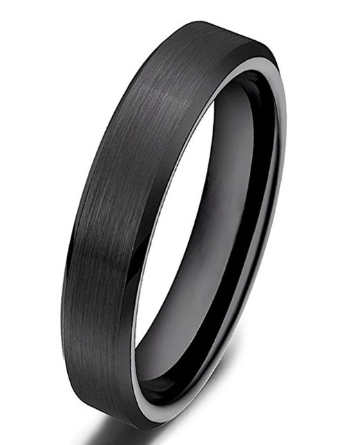 4mm - Women's Ceramic Wedding Band. Black Brus...