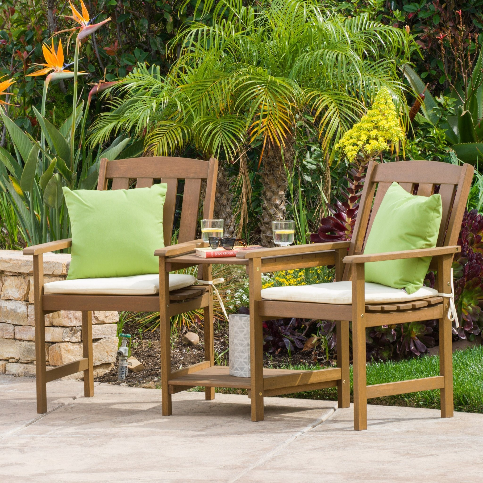Las Brisas Outdoor Wood Adjoining 2-Seater Chairs...