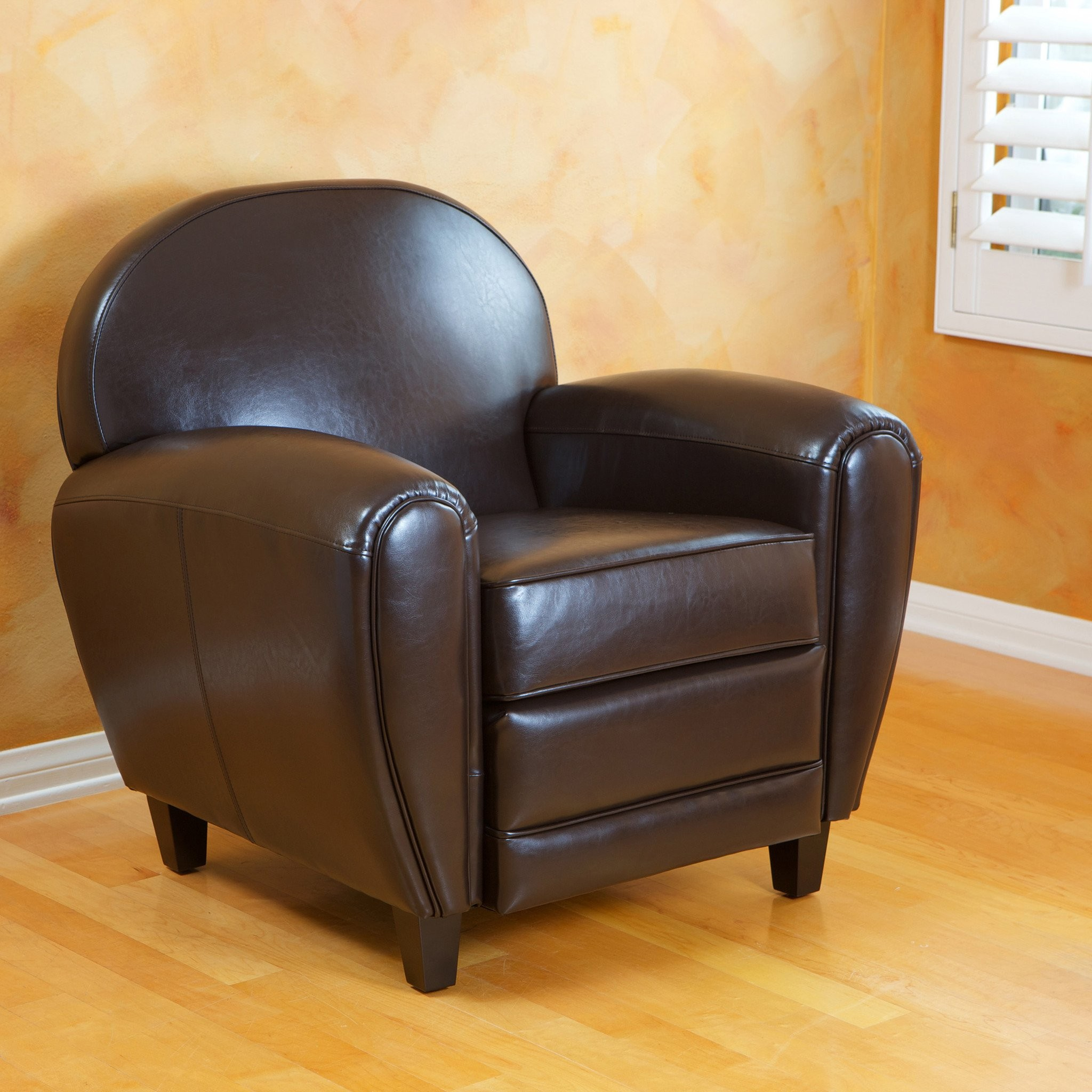 Bower Brown Leather Club Chair
