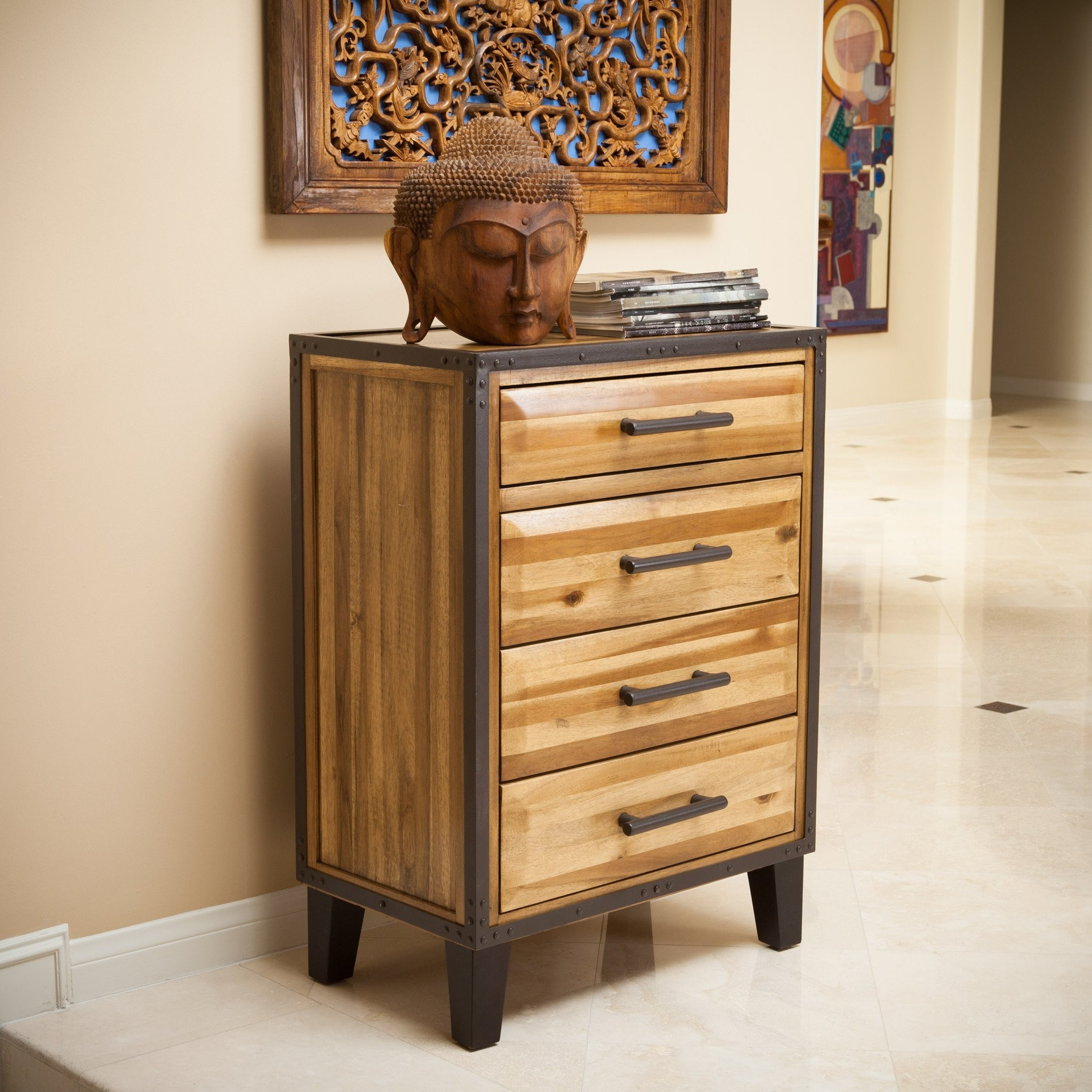 Glendora Natural Stain Solid Wood Four Drawer Stor...