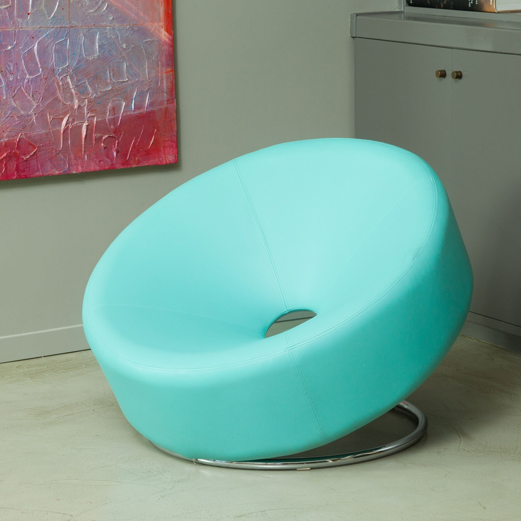 Nouvelle Modern Design Blue Leather Accent Chair