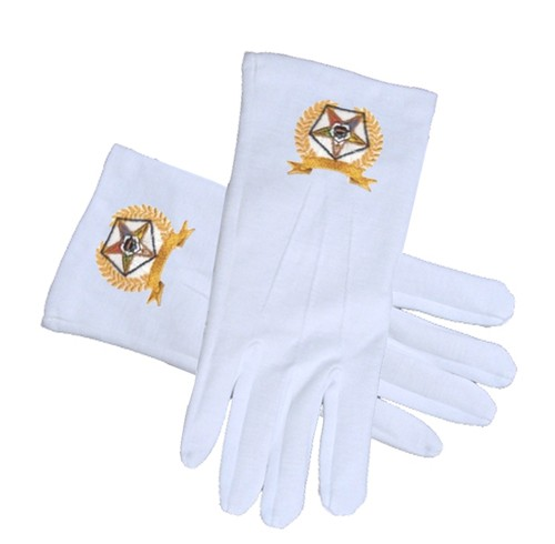OES Star Face Cotton Gloves - White with Golden La...