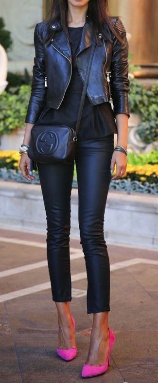 Fantastic Rockstar Black Leather Outfit and Bright...