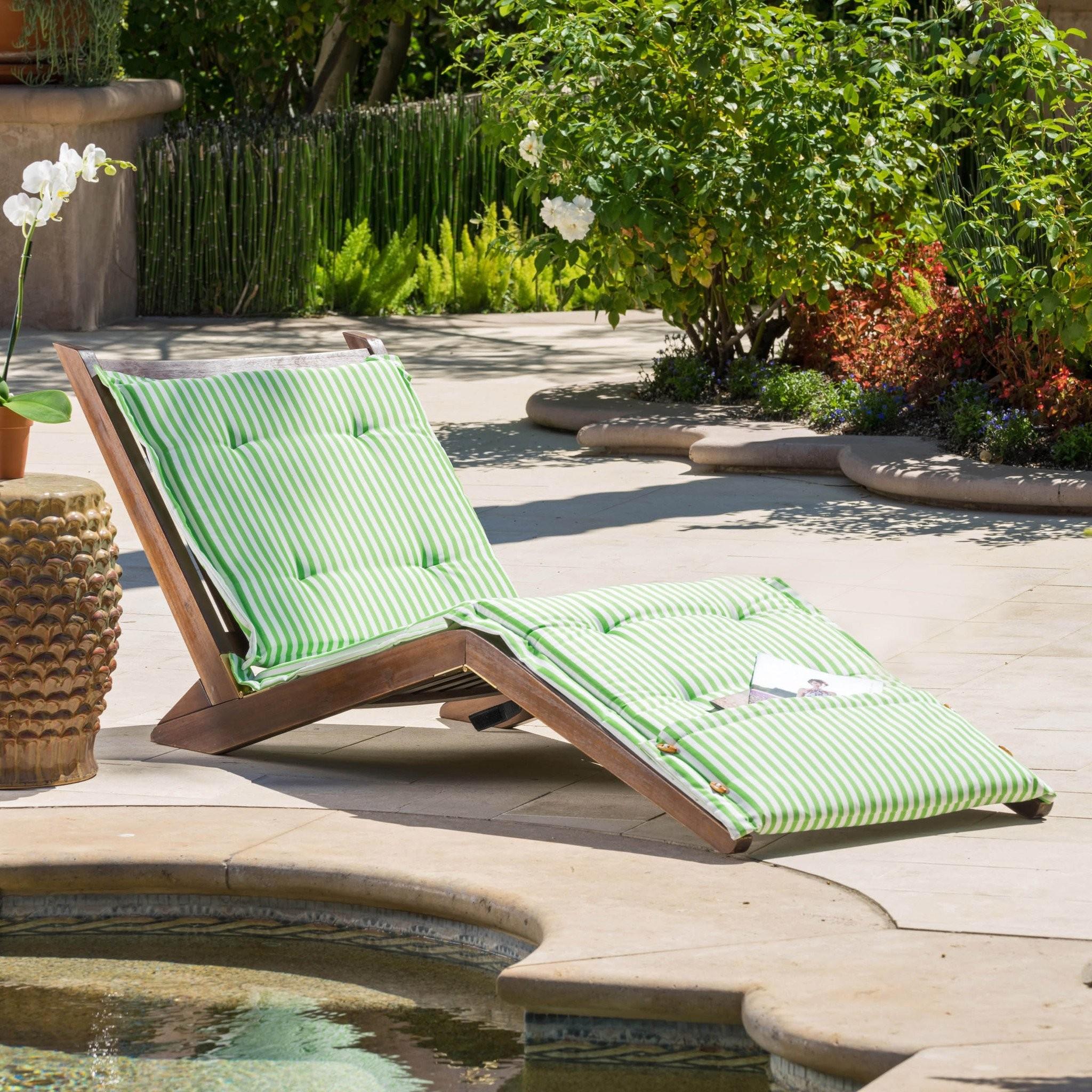 Midori Mahogany Wood Folding Chaise Lounger Chair...