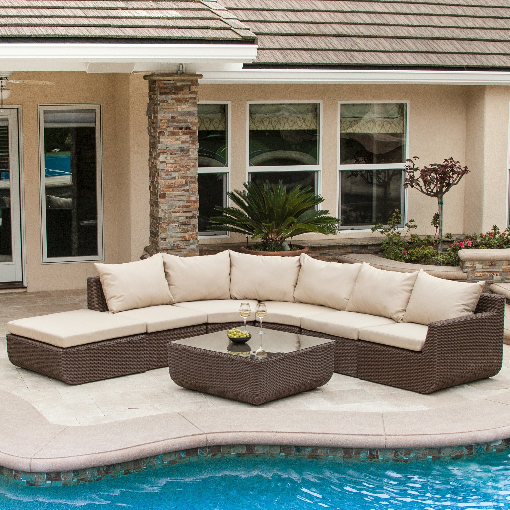 Brentwood 7pc Outdoor Brown Wicker Sectional Set