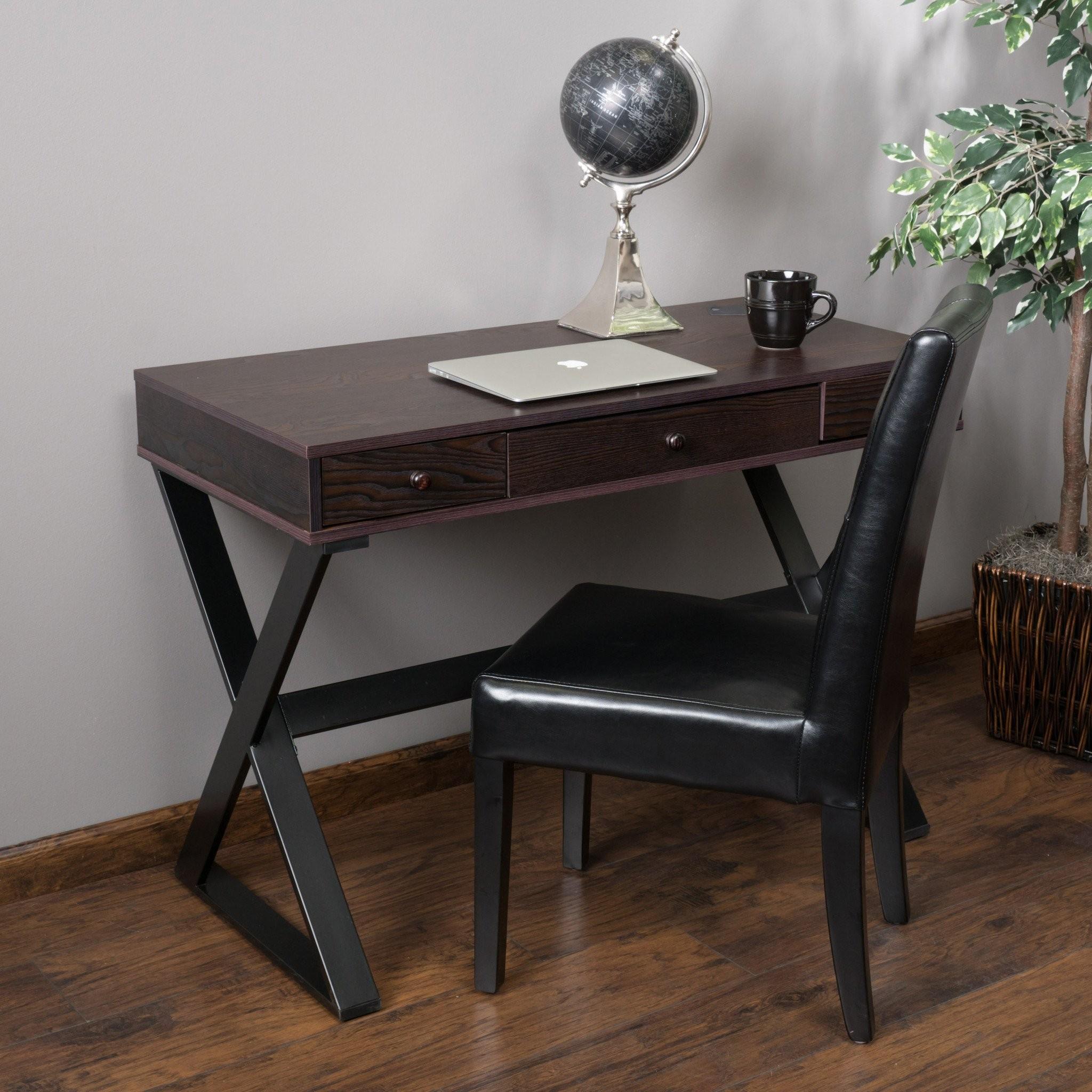 Geena 3 Drawer Dark Brown Wood Writing Desk