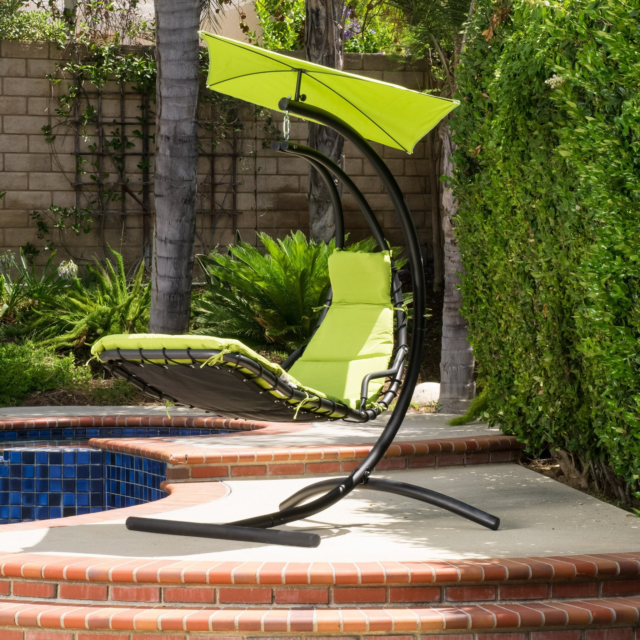 Afzelius Outdoor Hanging Chair with Green Cushion