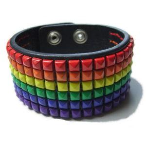 Rainbow Leather Studded - Gay Pride Bracelet - LGB...