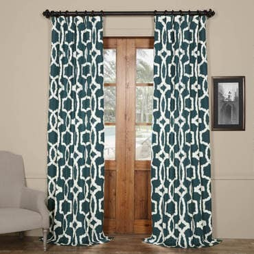 Lyons Blue Printed Cotton Twill Curtain