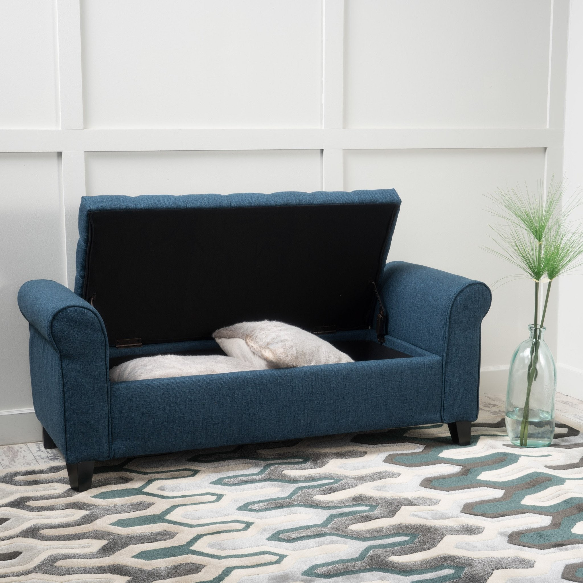 Charlemagne Dark Blue Fabric Armed Storage Bench
