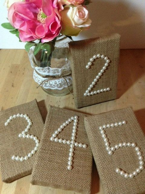 WEDDING BURLAP Table Numbers Pearls Wedding Recept...