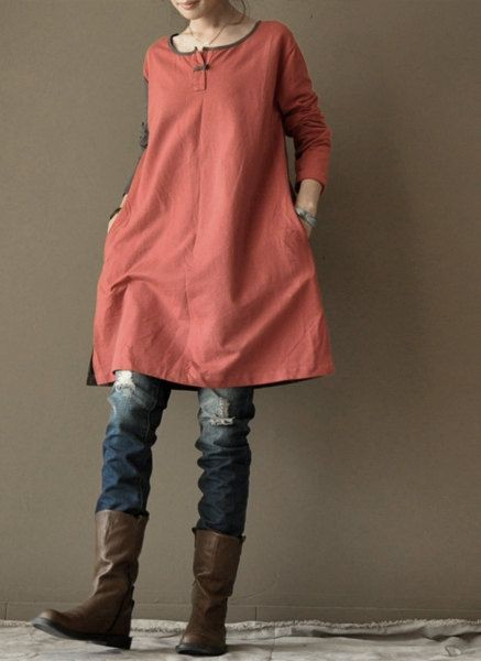 Red loose cotton dress Long Shirt  women Clothing...
