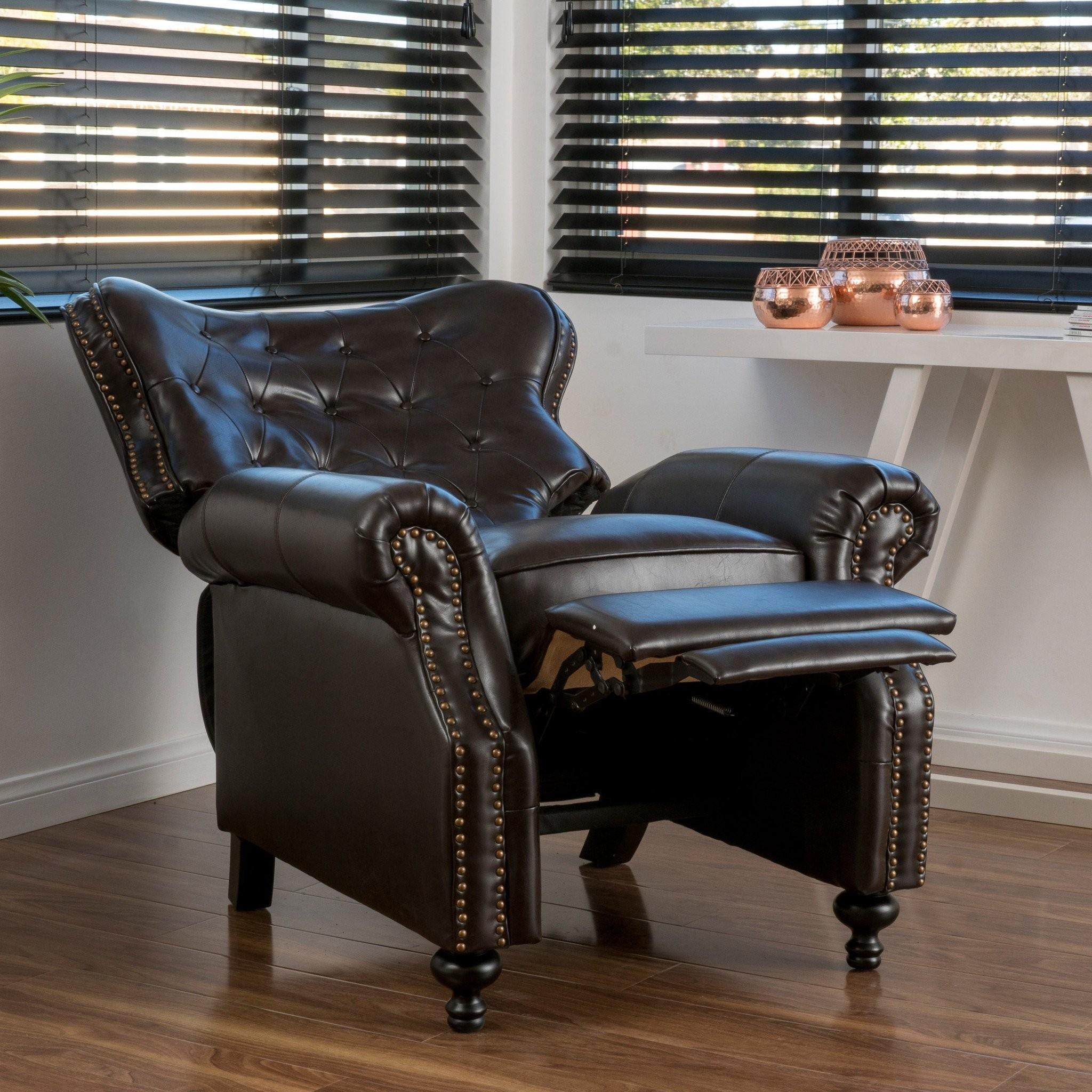 Waldo Brown Leather Recliner Club Chair