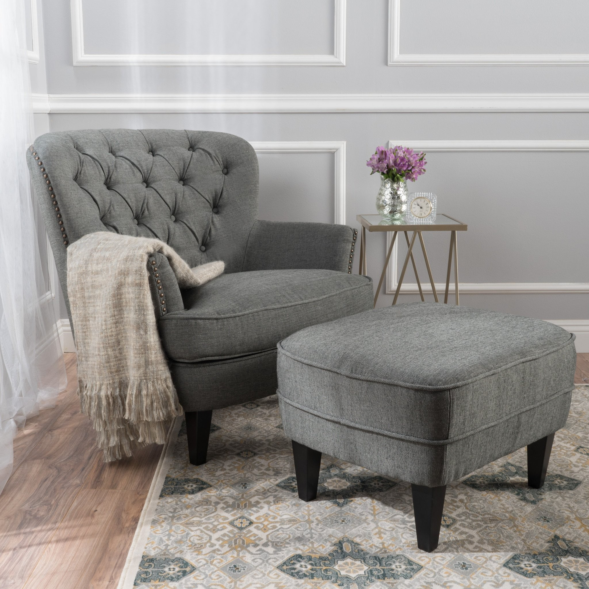 Teton Grey Fabric Club Chair and Ottoman