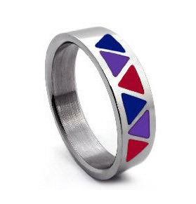 Bi Pride Triangle Flag Steel Ring - Bisexual LGBT...