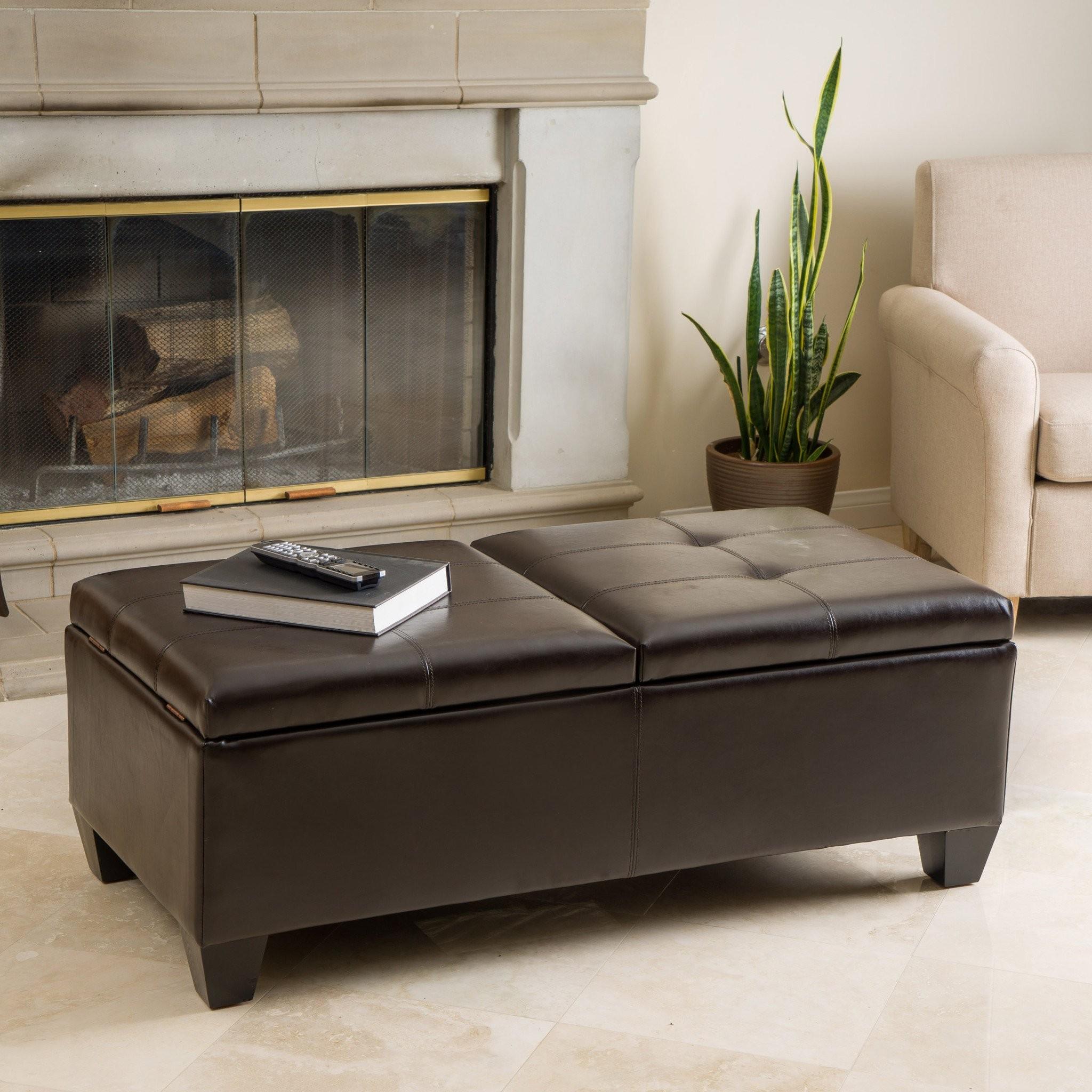 Alpine Leather Storage Ottoman Coffee Table
