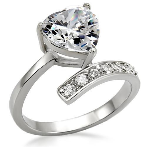 Lift Up My Heart - CZ Stone Ring - Steel Engagemen...