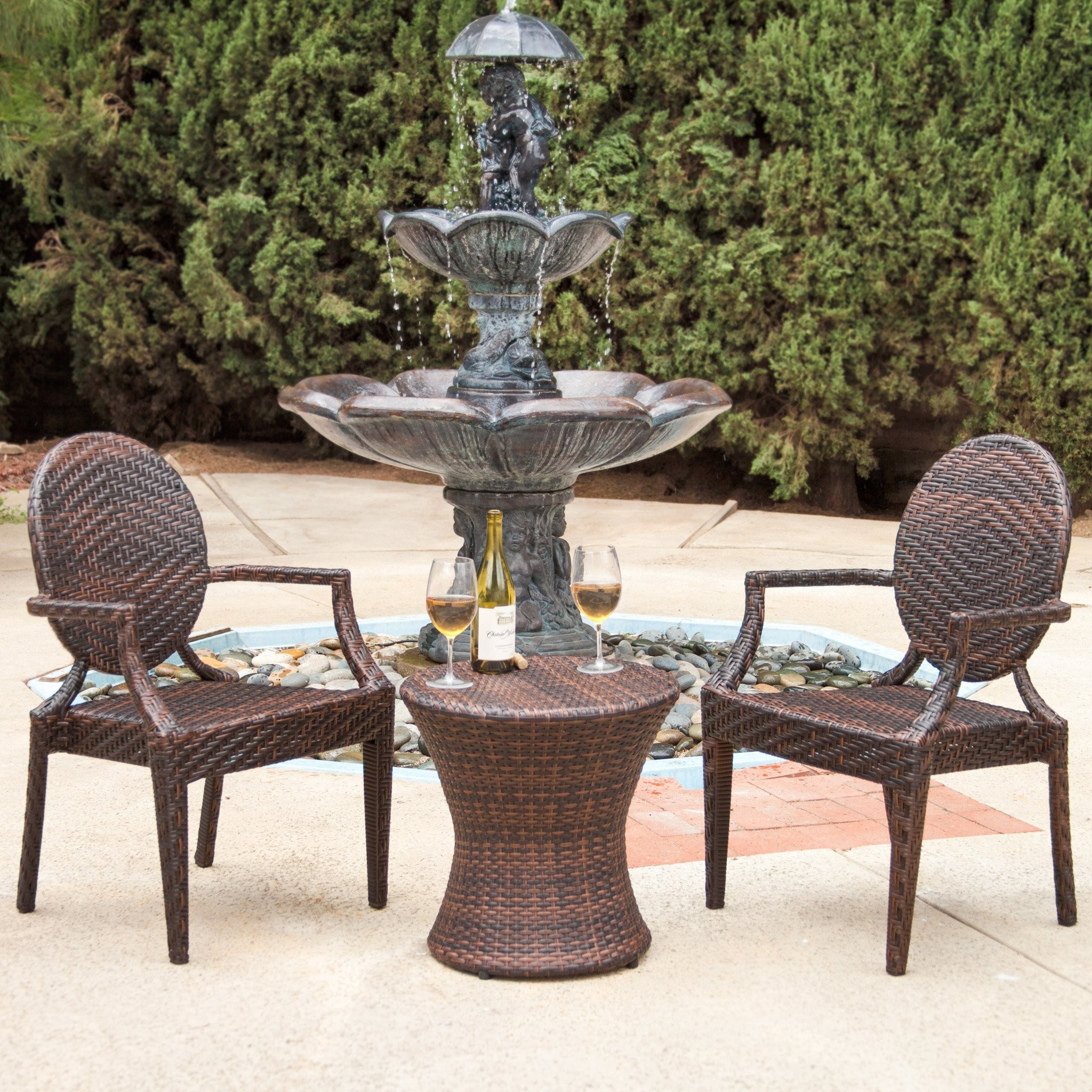 Townsgate Outdoor 3pc Brown Wicker Chat Set